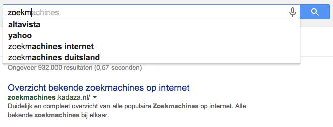 Resultaat Google Suggest bij intypen 'zoekmachine'