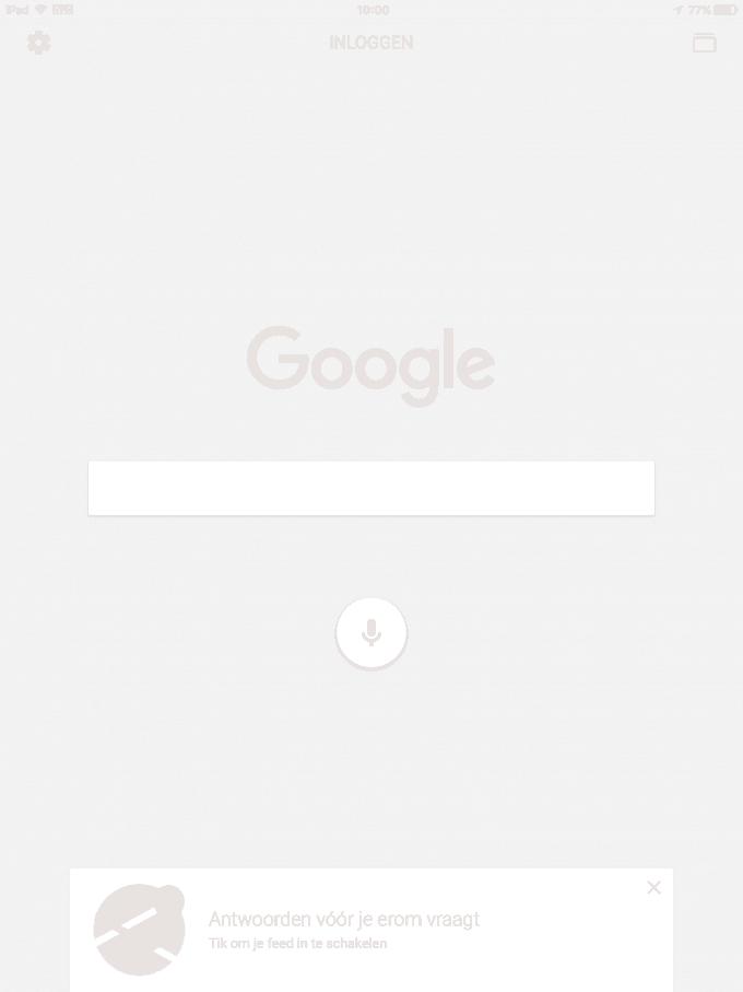 Google app vraagt om feed in te schakelen