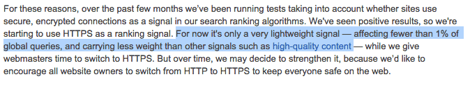 Google over HTTPS als ranking factor: minder dan 1 procent invloed.