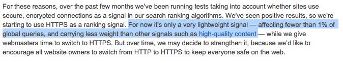 Google over HTTPS als ranking factor: minder dan 1 procent invloed.
