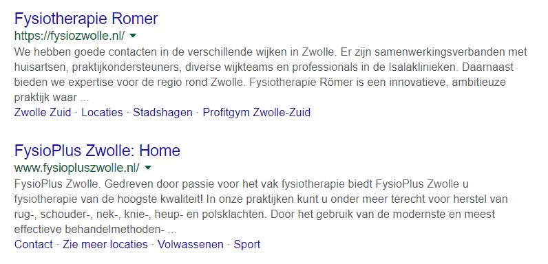 Twee meta-omschrijvingen die Google zelf heeft gegenereerd