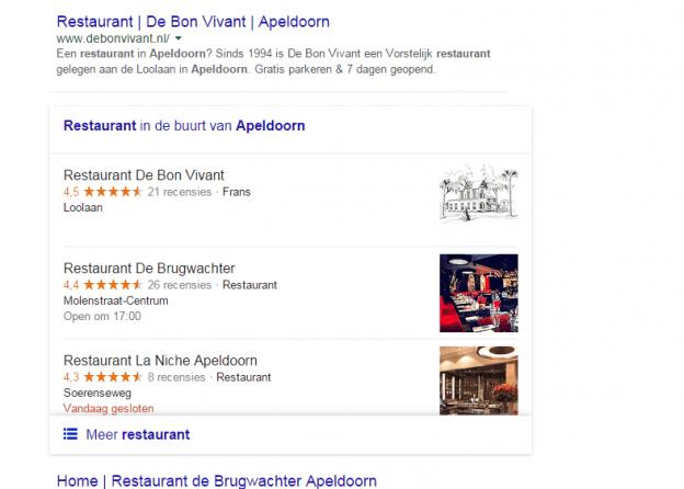 Google zoekresultaat met Answer Box lokale horeca - restaurant apeldoorn