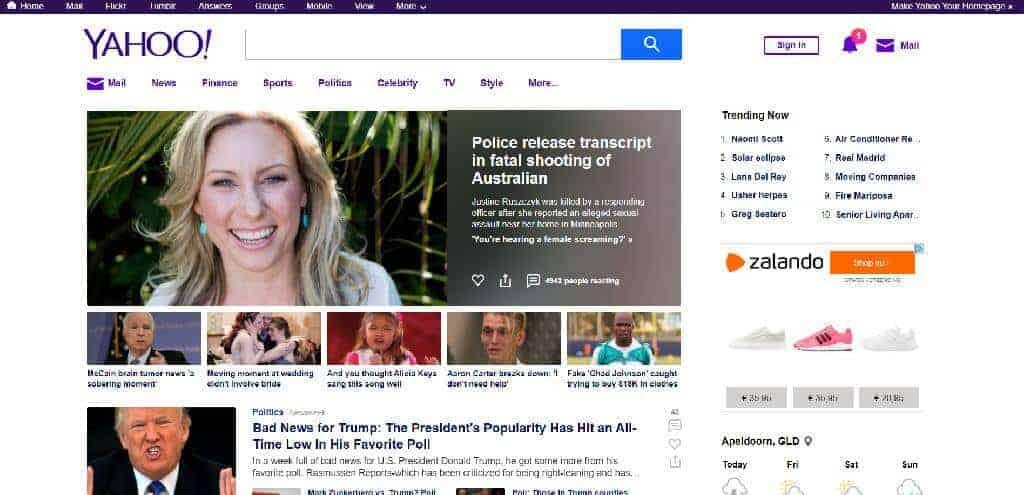 Homepagina Yahoo - nieuws - trending en zelfs een melding rechts bovenin die afleidt