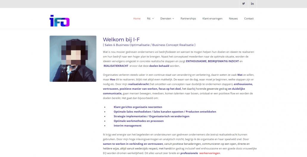 Screenshot van een homepagina met te veel tekst en een profielfoto. De tekst past beter op een over-pagina dan op een homepage.