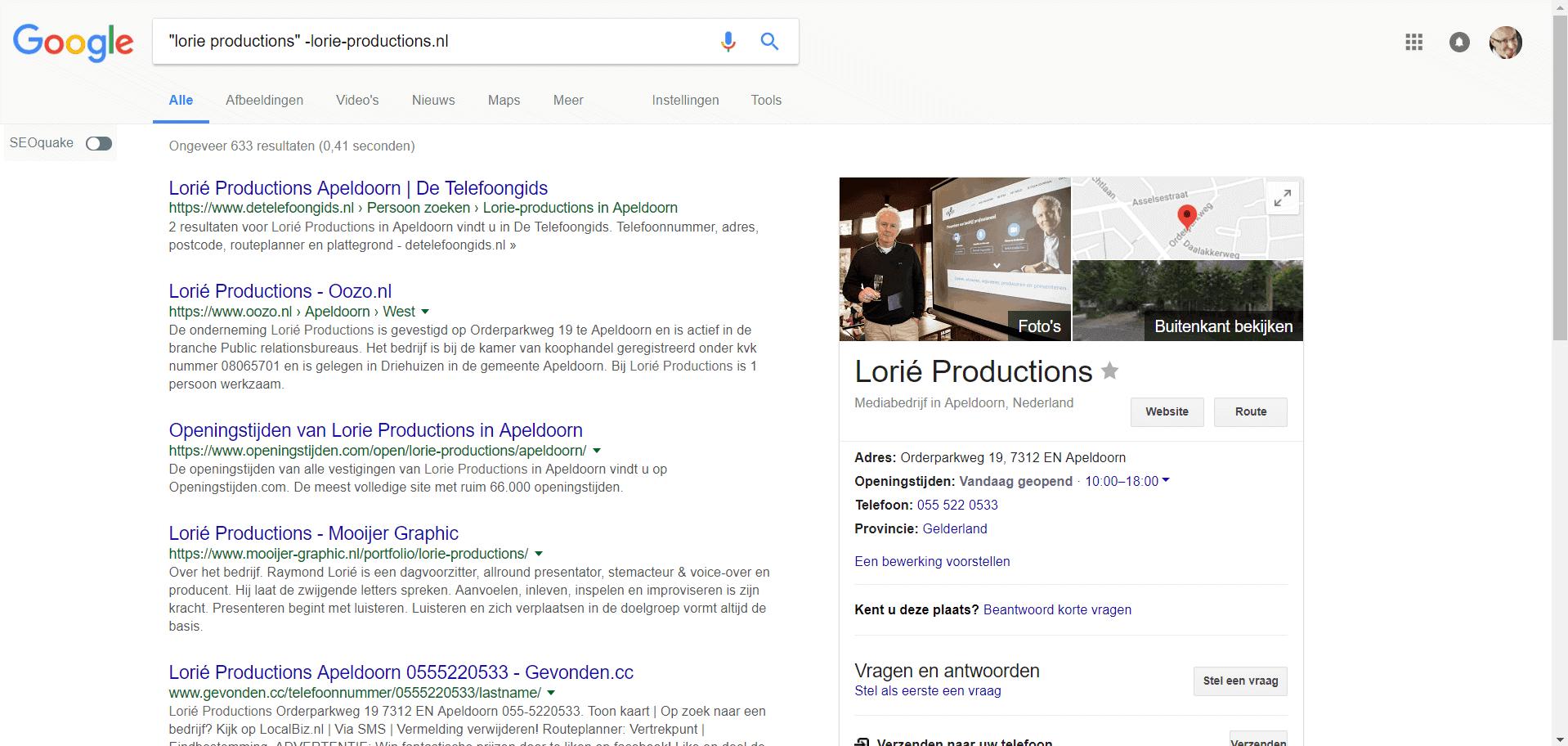 Zoek zelf je bestaande webmentions op in Google zoals in dit voorbeeld