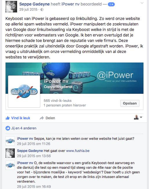 iPower geeft toe dat links zijn verwijderd: bewijs van linkbuilding op Facebook