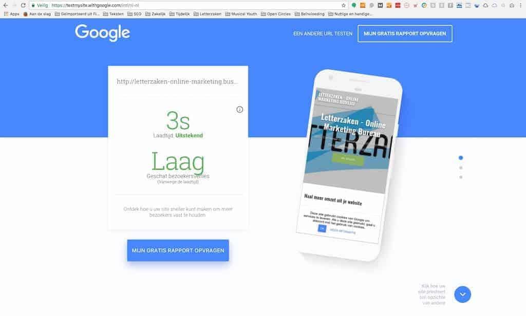 Prima laadtijd voor je gratis website van Google