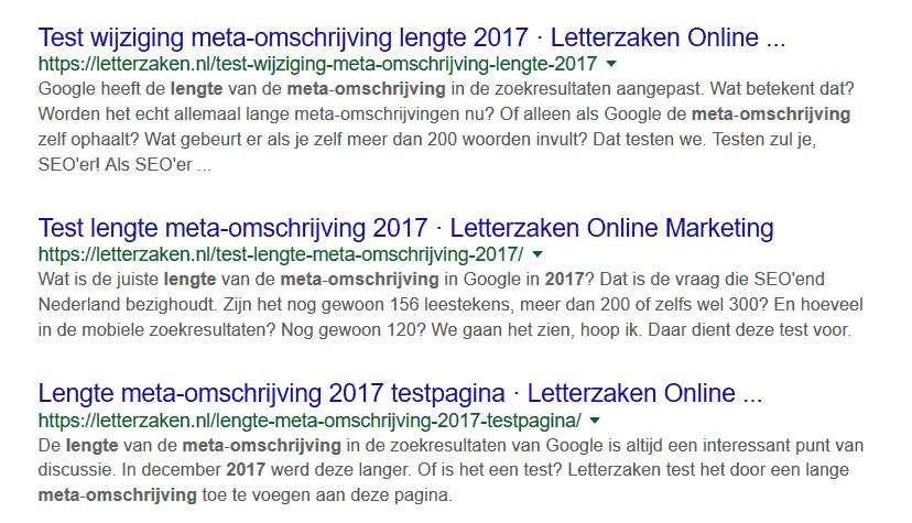 Langere meta-omschrijvingen in Google - dit is een test van de lengte die Google overneemt