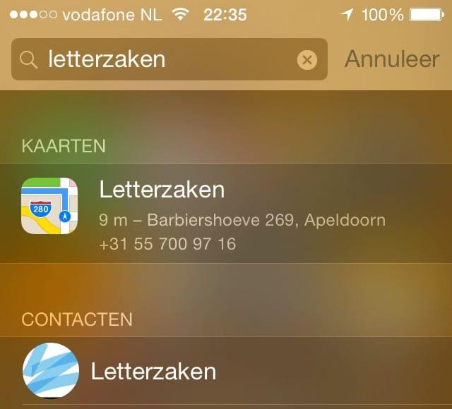 Apple Spotlight resultaten voor Letterzaken.