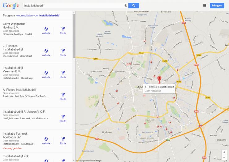 """Local Finder voor """"installatiebedrijf"""" in Apeldoorn"""