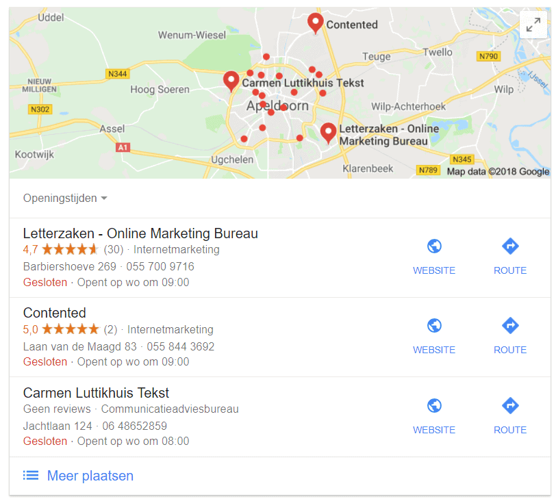 Google Local Pack voor zoekterm tekstschrijver Apeldoorn in 2018