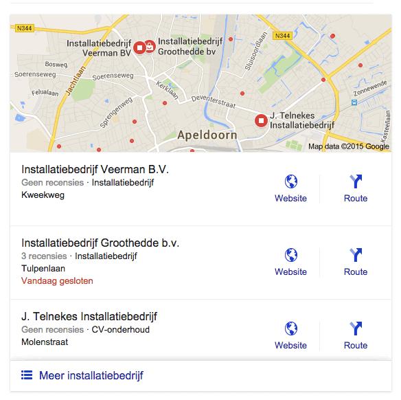 Geen sterren bij 2 recensies in Google