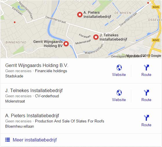 """Google Local Stack voor """"installatiebedrijf"""" in Apeldoorn"""