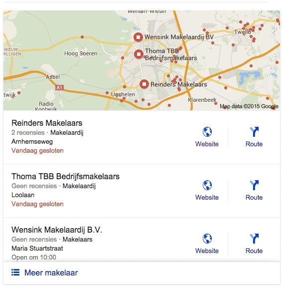 Google Local Stack weergave voor makelaar - locatie Apeldoorn