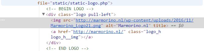 Domeinnaam als alt-tag voor het logo