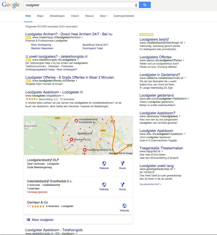 """Lokale zoekresultaten voor """"loodgieter"""" in Apeldoorn"""