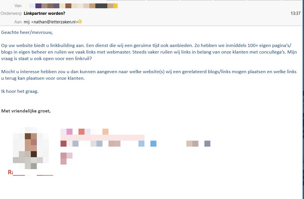 """Mail linkruil: """"in het belang van onze klanten"""""""