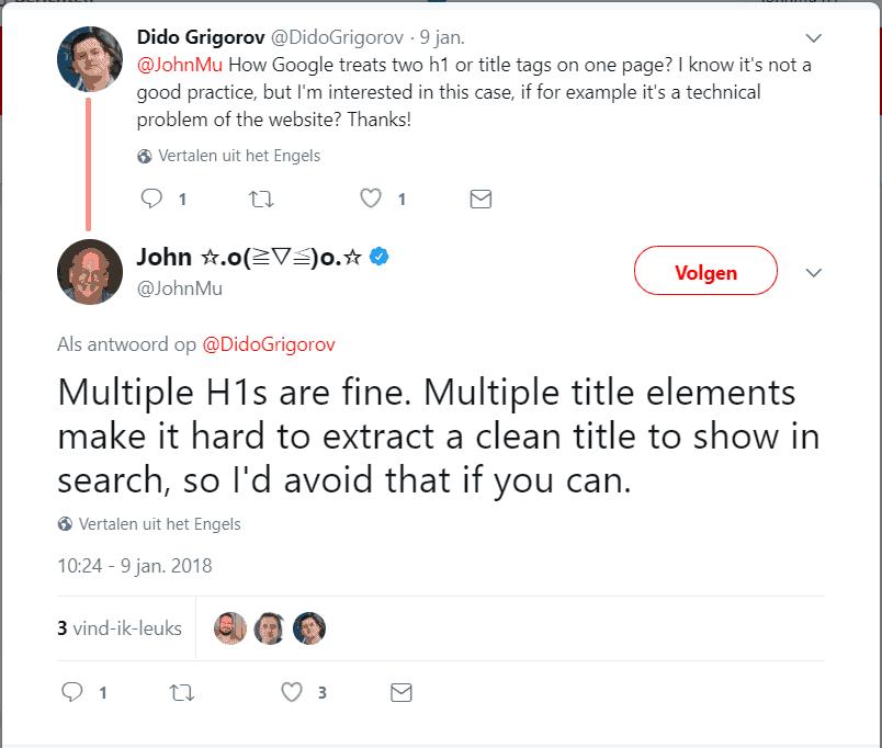Googles John Mueller: meerdere H1's op een webpagina zijn geen probleem