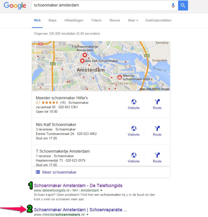 Meesterschoenmakers positie 2 in Google