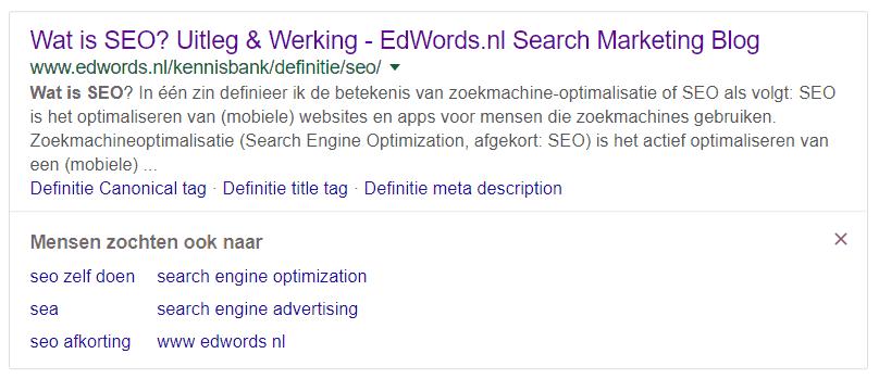 Mensen zochten ook naar... nu ook in google.nl