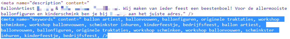 Meta keywords-tag spam op homepage ballonartiest