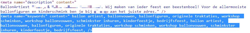 Meta keywords-tag spam op pagina Ballonnen