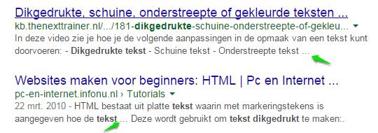Door Google zelf gegenereerde meta-omschrijvingen inclusief afbrekingen