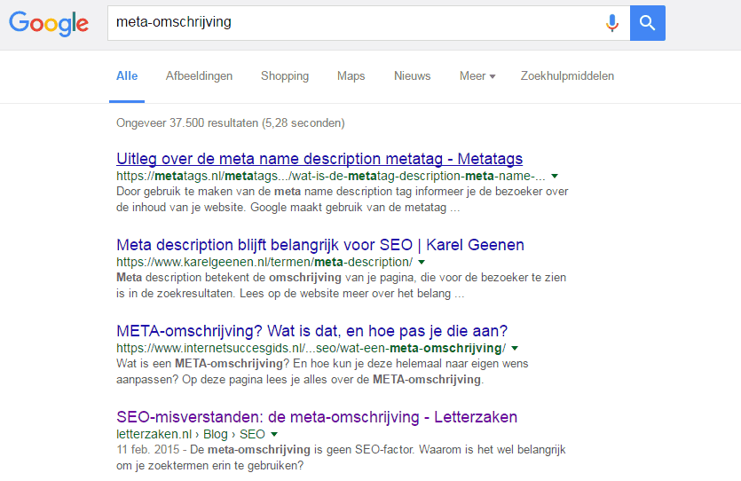 Positie 4 in Google zonder groen bolletje
