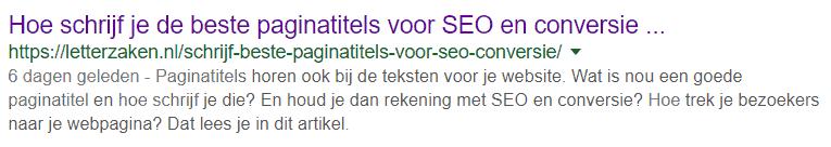 Artikel in Google zoekresultaat met datum van publicatie voor de meta-omschrijving
