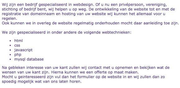 Webdesigner stelt vooral zichzelf centraal en niet de klant