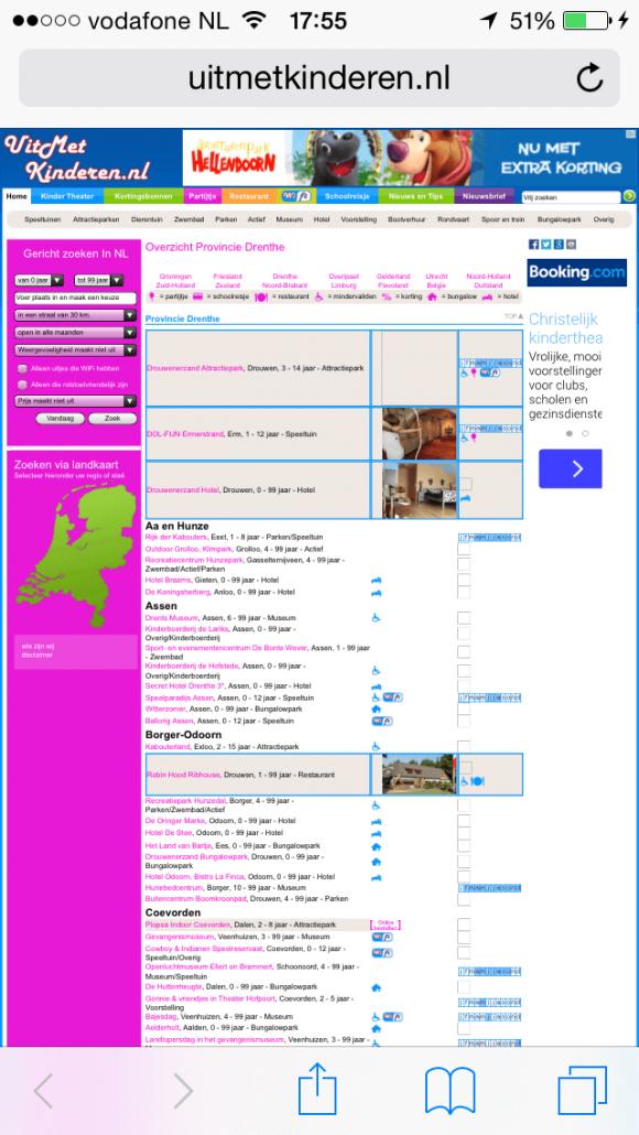 Website uitmetkinderen is niet responsive