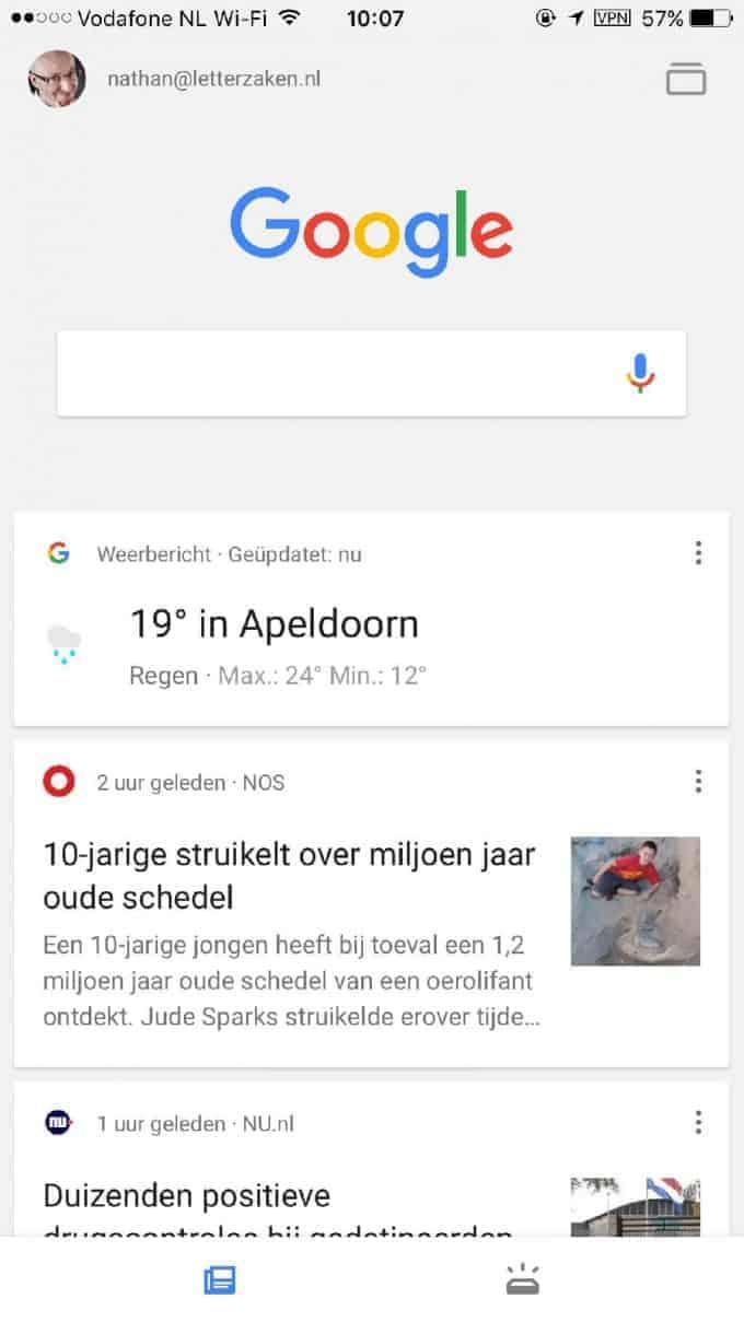 Nieuwsoverzicht in de feed met Google Now