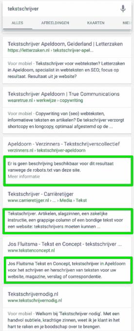 """Mobiel zoekresultaat voor """"tekstschrijver"""" met nog veel niet-mobielvriendelijke websites"""