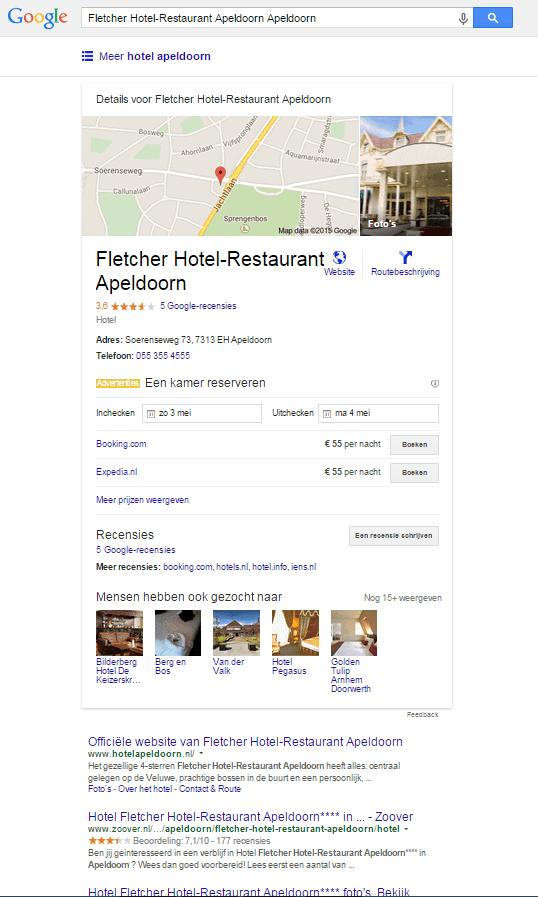 Google Hotel Finder resultaat voor specifiek hotel
