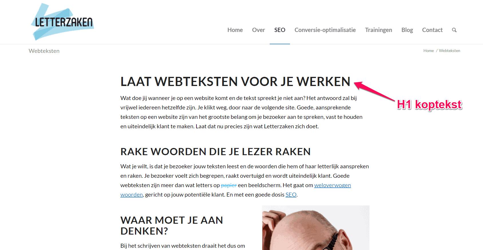 H1 koptekst is anders dan de paginatitel van de webpagina