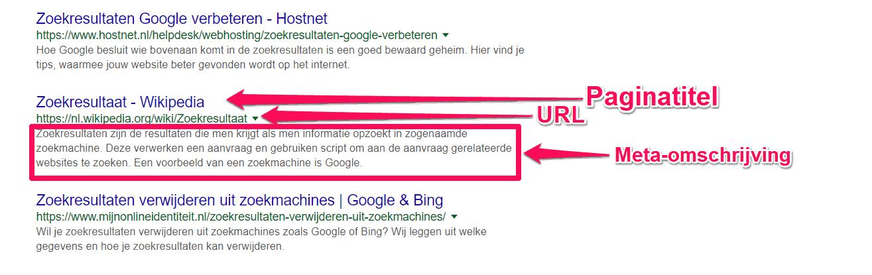 Weergave van de snippets in de zoekresultaten: Paginatitel, URL en meta-omschrijving.