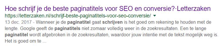 Paginatitel en meta-omschrijving zoals deze in de zoekresultaten vertoond worden