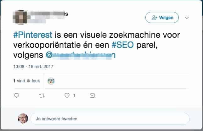 Bewering tijdens een presentatie: Pinterest is een SEO-parel