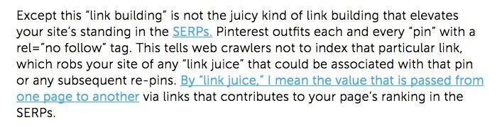 Pins op Pinterest krijgen nofollow-link.