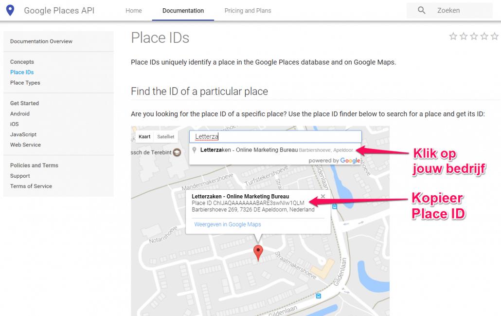 Google Place ID via de Google Places API