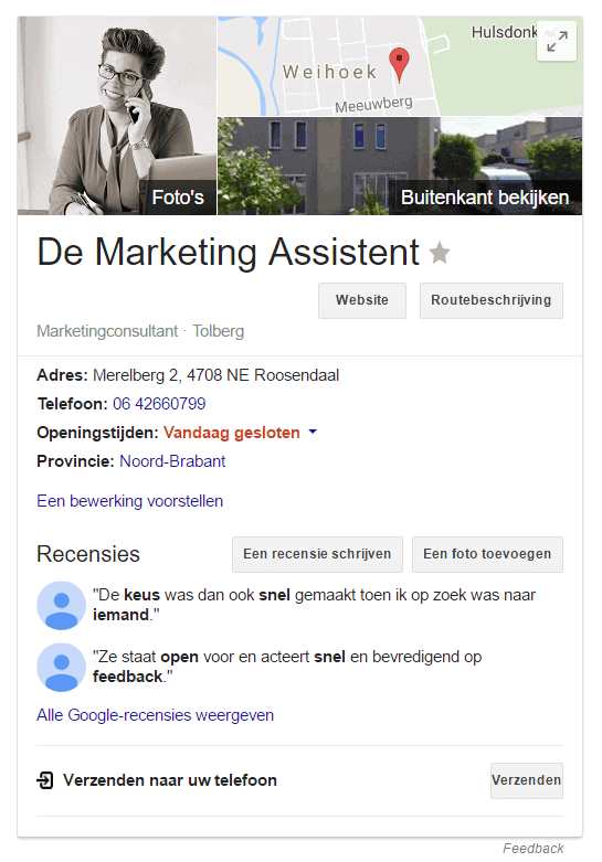 2 recensies en toch krijgt De Marketing Assistent quotes in de Google Knowledge Panel