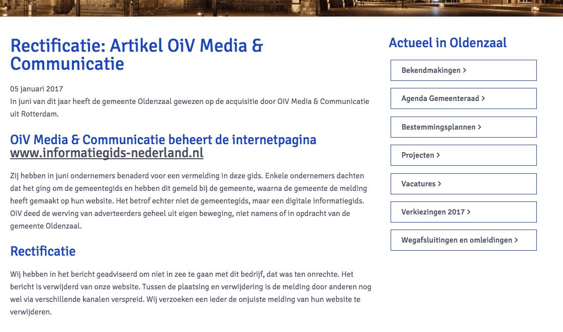 Gemeente Oldenzaal moest rectificeren omdat ze zich negatief uitlieten over OiV Media