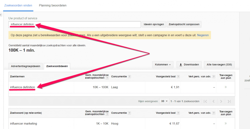 Resultaat in Google Zoekwoordplanner - influence definition ipv influencer definition