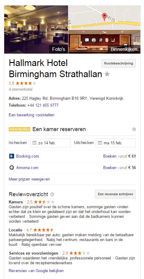 Reviewoverzicht Hallmark hotel Birmingham Strathallan met samenvatting reviews