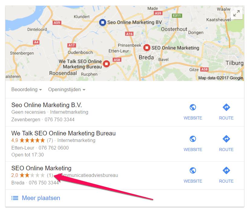 1 Google-recensie en vermelding van sterren in de zoekresultaten