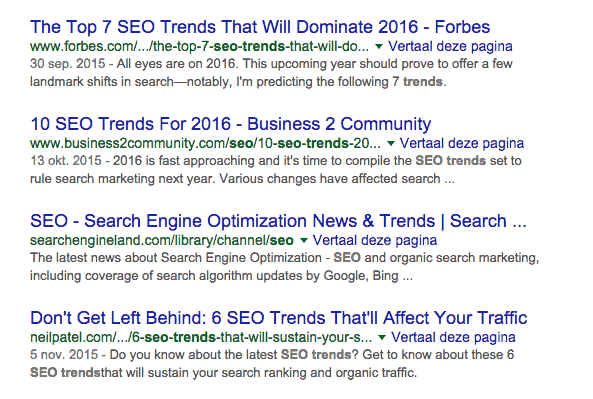 SEO-trends 2016 in Google