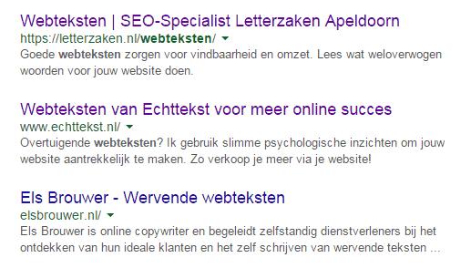 Zoekresultatenpagina voor de zoekterm webteksten: matige paginatitel