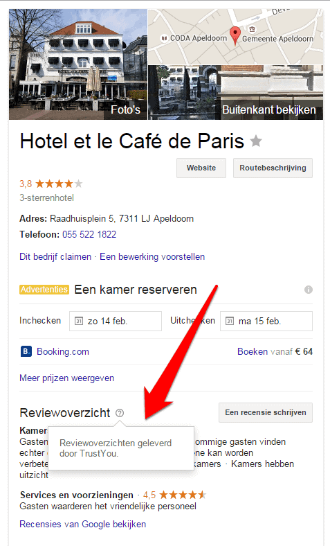 Samenvatting recensies hotels in Google komen via TrustYou