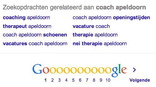 Google zoekresultaten zoektermen-onderzoek coach apeldoorn