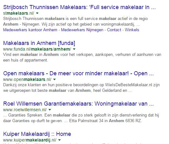 Makelaar Arnhem - zoekopdracht zonder stopwoord